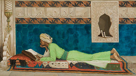Painting of a reclining scholar studying